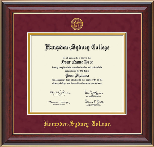 Image of Hampden-Sydney College Diploma Frame - Cherry Lacquer - w/Embossed HSC Seal & Name - Maroon Suede on Gold mat