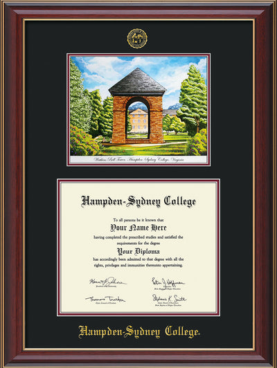 Image of Hampden-Sydney College Diploma Frame - Cherry Lacquer - w/Embossed HSC Seal & Name - Watercolor - Black on Maroon mat