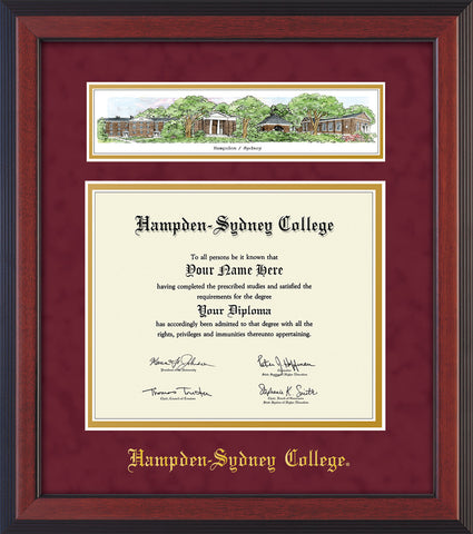 Image of Hampden-Sydney College Diploma Frame - Cherry Reverse - w/Embossed HSC Seal & Name - Campus Collage - Maroon Suede on Gold mat
