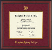 Image of Hampden-Sydney College Diploma Frame - Cherry Reverse - w/Embossed HSC Seal & Name - Fillet - Maroon Suede mat