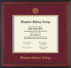 Image of Hampden-Sydney College Diploma Frame - Cherry Reverse - w/Embossed HSC Seal & Name - Maroon Suede on Gold mat