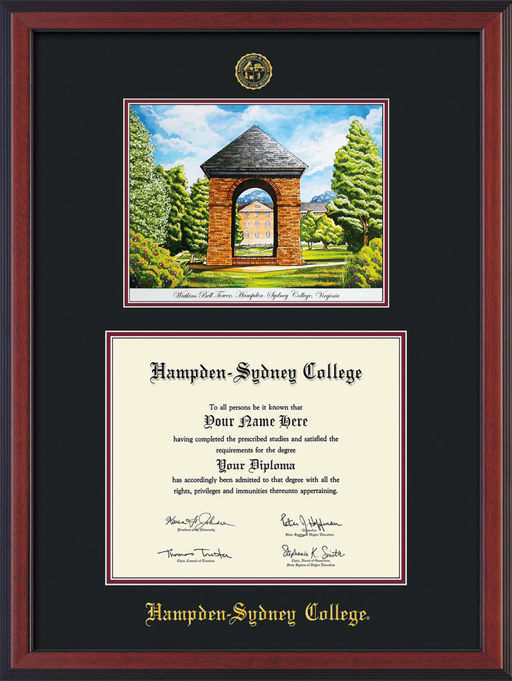 Image of Hampden-Sydney College Diploma Frame - Cherry Reverse - w/Embossed HSC Seal & Name - Watercolor - Black on Maroon mat