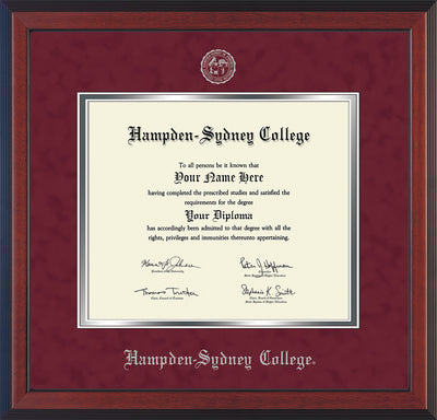 Image of Hampden-Sydney College Diploma Frame - Cherry Reverse - w/Embossed HSC Seal & Name - Maroon Suede on Silver mat