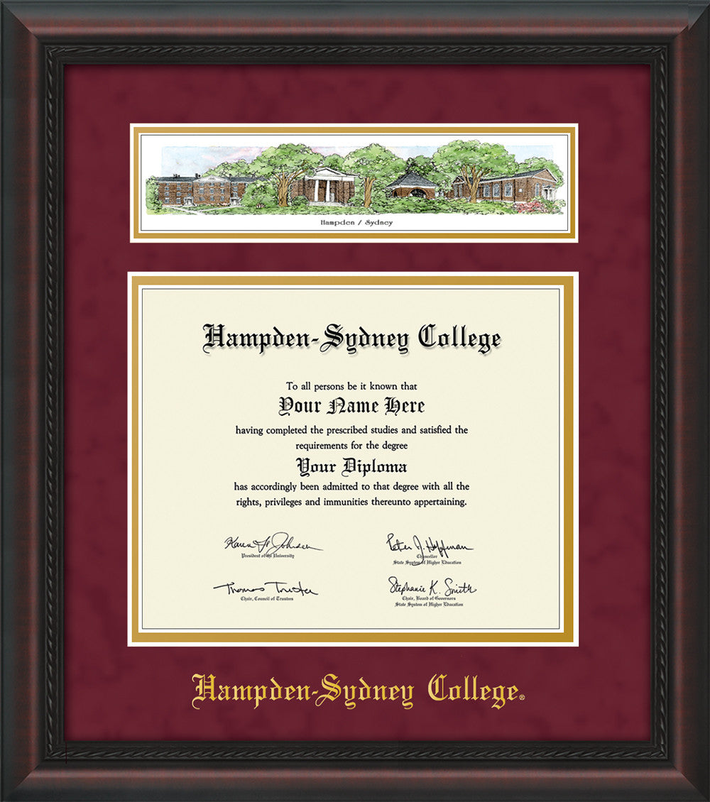 Hampden-Sydney College Diploma Frame-Mahogany Braid-Collage-Maroon ...