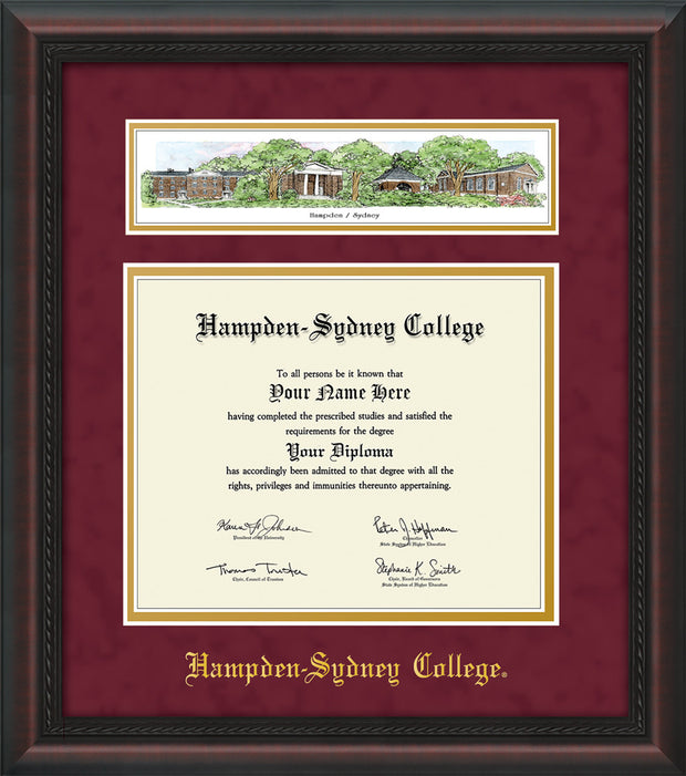 Image of Hampden-Sydney College Diploma Frame - Mahogany Braid - w/Embossed HSC Seal & Name - Campus Collage - Maroon Suede on Gold mat