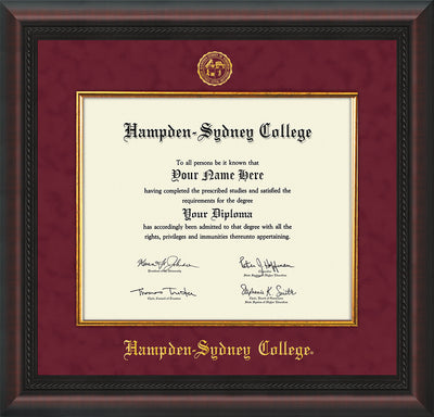 Image of Hampden-Sydney College Diploma Frame - Mahogany Braid - w/Embossed HSC Seal & Name - Fillet - Maroon Suede mat