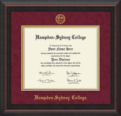 Image of Hampden-Sydney College Diploma Frame - Mahogany Braid - w/Embossed HSC Seal & Name - Maroon Suede on Gold mat