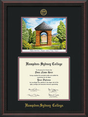 Image of Hampden-Sydney College Diploma Frame - Mahogany Braid - w/Embossed HSC Seal & Name - Watercolor - Black on Maroon mat