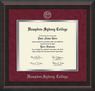 Image of Hampden-Sydney College Diploma Frame - Mahogany Braid - w/Embossed HSC Seal & Name - Maroon Suede on Silver mat