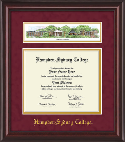 Image of Hampden-Sydney College Diploma Frame - Mahogany Lacquer - w/Embossed HSC Seal & Name - Campus Collage - Maroon Suede on Gold mat