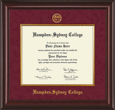 Image of Hampden-Sydney College Diploma Frame - Mahogany Lacquer - w/Embossed HSC Seal & Name - Fillet - Maroon Suede mat