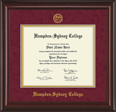 Image of Hampden-Sydney College Diploma Frame - Mahogany Lacquer - w/Embossed HSC Seal & Name - Maroon Suede on Gold mat