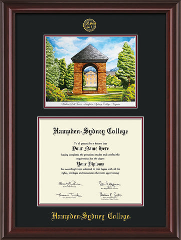 Image of Hampden-Sydney College Diploma Frame - Mahogany Lacquer - w/Embossed HSC Seal & Name - Watercolor - Black on Maroon mat