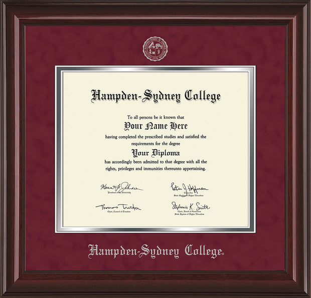 Image of Hampden-Sydney College Diploma Frame - Mahogany Lacquer - w/Embossed HSC Seal & Name - Maroon Suede on Silver mat