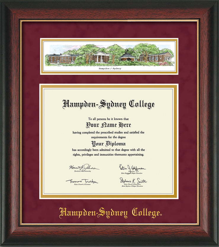Image of Hampden-Sydney College Diploma Frame - Rosewood w/Gold Lip - w/Embossed HSC Seal & Name - Campus Collage - Maroon Suede on Gold mat