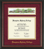 Image of Hampden-Sydney College Diploma Frame - Rosewood - w/Embossed HSC Seal & Name - Campus Collage - Maroon Suede on Gold mat