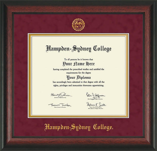 Image of Hampden-Sydney College Diploma Frame - Rosewood - w/Embossed HSC Seal & Name - Maroon Suede on Gold mat