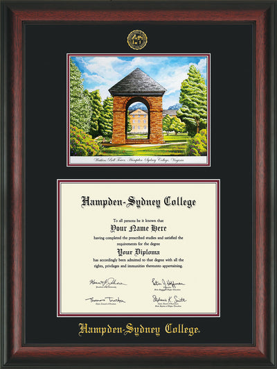 Image of Hampden-Sydney College Diploma Frame - Rosewood - w/Embossed HSC Seal & Name - Watercolor - Black on Maroon mat
