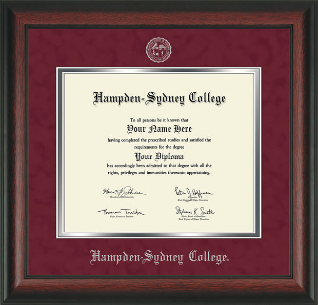 Image of Hampden-Sydney College Diploma Frame - Rosewood - w/Embossed HSC Seal & Name - Maroon Suede on Silver mat
