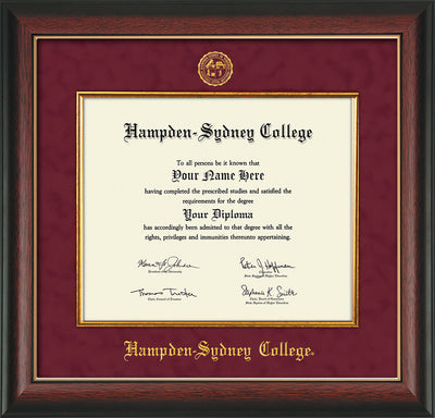 Image of Hampden-Sydney College Diploma Frame - Rosewood w/Gold Lip - w/Embossed HSC Seal & Name - Fillet - Maroon Suede mat