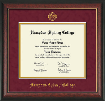 Image of Hampden-Sydney College Diploma Frame - Rosewood w/Gold Lip - w/Embossed HSC Seal & Name - Maroon Suede on Gold mat