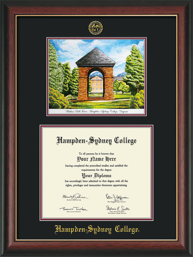Image of Hampden-Sydney College Diploma Frame - Rosewood w/Gold Lip - w/Embossed HSC Seal & Name - Watercolor - Black on Maroon mat