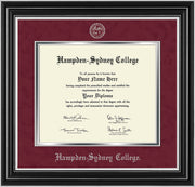 Image of Hampden-Sydney College Diploma Frame - Satin Silver - w/Embossed HSC Seal & Name - Maroon Suede on Silver mat