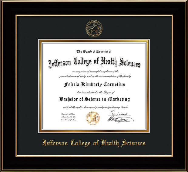 Image of Jefferson College of Health Sciences Diploma Frame - Black Lacquer - w/JCHS Embossed Seal & Name - Black on Gold mat