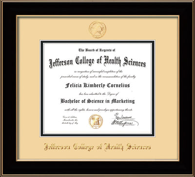 Image of Jefferson College of Health Sciences Diploma Frame - Black Lacquer - w/JCHS Embossed Seal & Name - Cream on Black mat