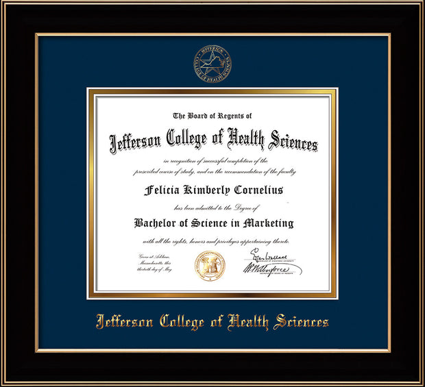 Image of Jefferson College of Health Sciences Diploma Frame - Black Lacquer - w/JCHS Embossed Seal & Name - Navy on Gold mat