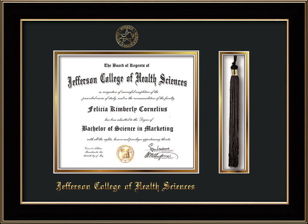 Image of Jefferson College of Health Sciences Diploma Frame - Black Lacquer - w/JCHS Embossed Seal & Name - Tassel Holder - Black on Gold mat