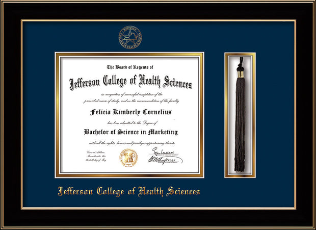 Image of Jefferson College of Health Sciences Diploma Frame - Black Lacquer - w/JCHS Embossed Seal & Name - Tassel Holder - Navy on Gold mat