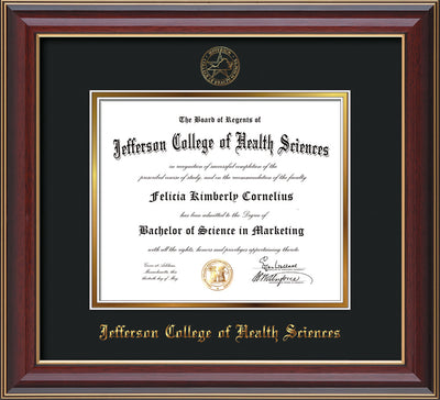 Image of Jefferson College of Health Sciences Diploma Frame - Cherry Lacquer - w/JCHS Embossed Seal & Name - Black on Gold mat