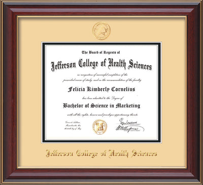 Image of Jefferson College of Health Sciences Diploma Frame - Cherry Lacquer - w/JCHS Embossed Seal & Name - Cream on Black mat