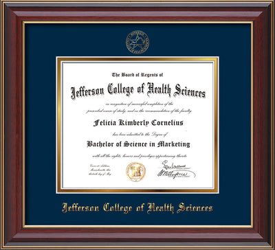 Image of Jefferson College of Health Sciences Diploma Frame - Cherry Lacquer - w/JCHS Embossed Seal & Name - Navy on Gold mat