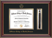Image of Jefferson College of Health Sciences Diploma Frame - Cherry Lacquer - w/JCHS Embossed Seal & Name - Tassel Holder - Black on Gold mat