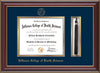 Image of Jefferson College of Health Sciences Diploma Frame - Cherry Lacquer - w/JCHS Embossed Seal & Name - Tassel Holder - Navy on Gold mat