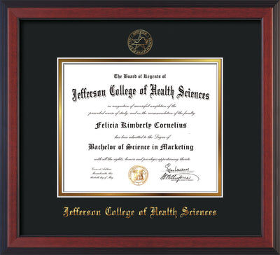 Image of Jefferson College of Health Sciences Diploma Frame - Cherry Reverse - w/JCHS Embossed Seal & Name - Black on Gold mat
