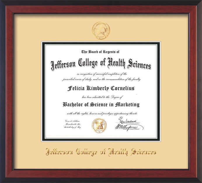 Jefferson College Of Health Sciences Diploma Frame Cherry Reverse Seal Cream On Black Official Diploma Frames