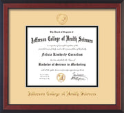 Image of Jefferson College of Health Sciences Diploma Frame - Cherry Reverse - w/JCHS Embossed Seal & Name - Cream on Black mat