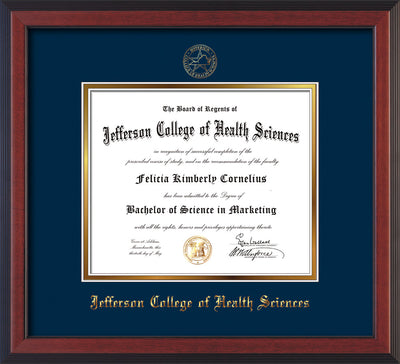 Image of Jefferson College of Health Sciences Diploma Frame - Cherry Reverse - w/JCHS Embossed Seal & Name - Navy on Gold mat