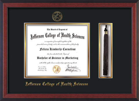 Image of Jefferson College of Health Sciences Diploma Frame - Cherry Reverse - w/JCHS Embossed Seal & Name - Tassel Holder - Black on Gold mat