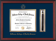 Image of Jefferson College of Health Sciences Diploma Frame - Cherry Reverse - w/JCHS Embossed Seal & Name - Tassel Holder - Navy on Gold mat