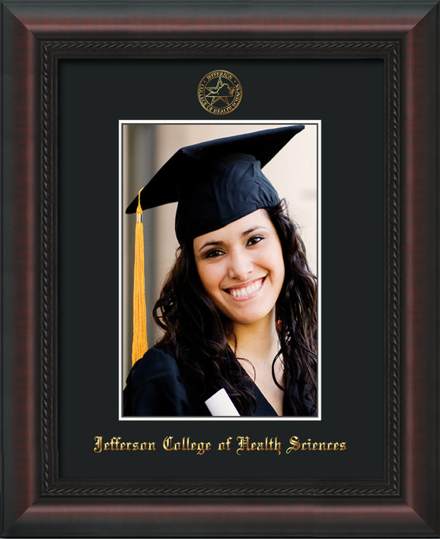 Image of Jefferson College of Health Sciences 5 x 7 Photo Frame - Mahogany Braid - w/Official Embossing of JCHS Seal & Name - Single Black mat