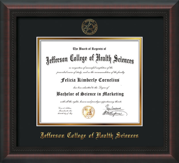 Image of Jefferson College of Health Sciences Diploma Frame - Mahogany Braid - w/JCHS Embossed Seal & Name - Black on Gold mat