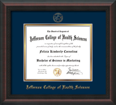 Image of Jefferson College of Health Sciences Diploma Frame - Mahogany Braid - w/JCHS Embossed Seal & Name - Navy on Gold mat