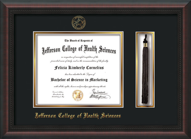 Image of Jefferson College of Health Sciences Diploma Frame - Mahogany Braid - w/JCHS Embossed Seal & Name - Tassel Holder - Black on Gold mat