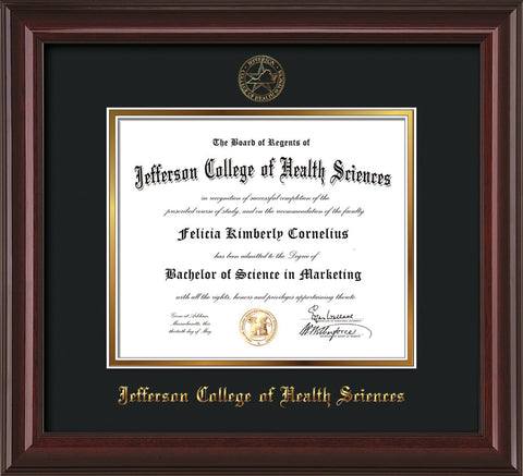 Image of Jefferson College of Health Sciences Diploma Frame - Mahogany Lacquer - w/JCHS Embossed Seal & Name - Black on Gold mat