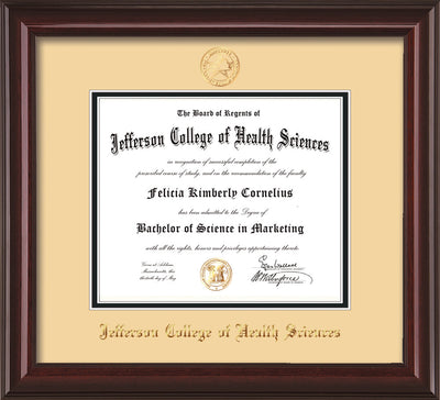 Image of Jefferson College of Health Sciences Diploma Frame - Mahogany Lacquer - w/JCHS Embossed Seal & Name - Cream on Black mat