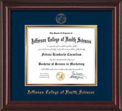 Image of Jefferson College of Health Sciences Diploma Frame - Mahogany Lacquer - w/JCHS Embossed Seal & Name - Navy on Gold mat